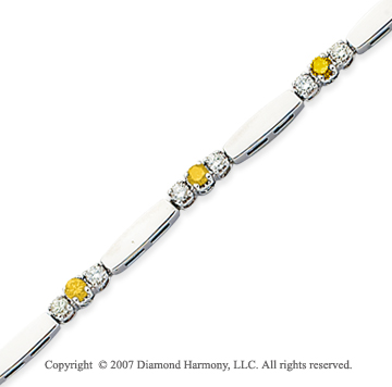 14k White Gold Prong 1.30 Carat Yellow Diamond Bracelet
