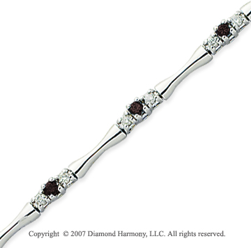 14k White Gold Round 1.00 Carat Black Diamond Bracelet