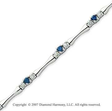 14k White Gold Round 1.00 Carat Blue Diamond Bracelet