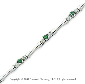 14k White Gold Round 1.00 Carat Green Diamond Bracelet