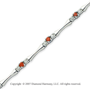 14k White Gold Round 1.00 Carat Red Diamond Bracelet