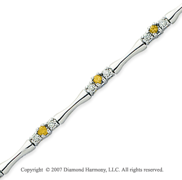 14k White Gold Round 1.00 Carat Yellow Diamond Bracelet