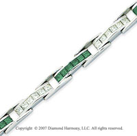 14k White Gold Princess 6 1/3 Carat Green Diamond Bracelet