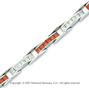 14k White Gold Princess 6 1/3 Carat Red Diamond Bracelet