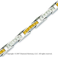 14k White Gold Princess 6 1/3 Carat Yellow Diamond Bracelet