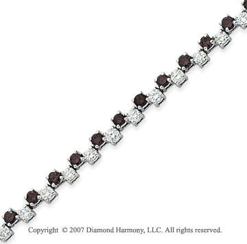 14k White Gold Round 4.70 Carat Black Diamond Bracelet