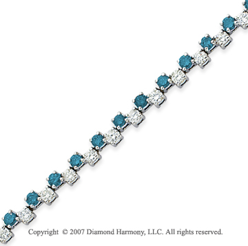 14k White Gold Round 4.70 Carat Blue Diamond Bracelet