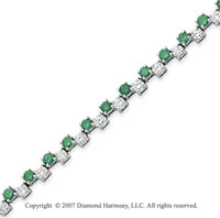 14k White Gold Round 4.70 Carat Green Diamond Bracelet