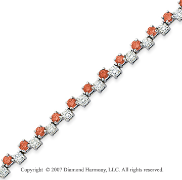 14k White Gold Round 4.70 Carat Red Diamond Bracelet