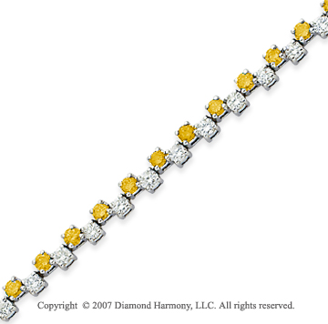14k White Gold Round 4.70 Carat Yellow Diamond Bracelet