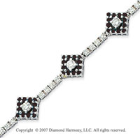 14k White Gold Round 3.35 Carat Black Diamond Bracelet