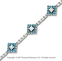 14k White Gold Round 3.35 Carat Blue Diamond Bracelet