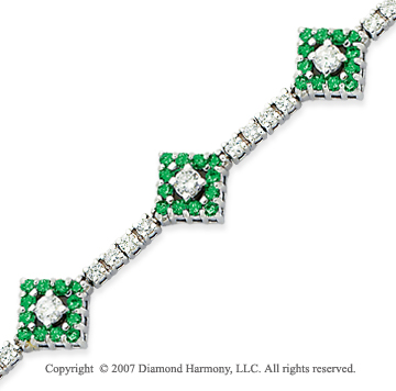 14k White Gold Round 3.35 Carat Green Diamond Bracelet