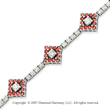 14k White Gold Round 3.35 Carat Red Diamond Bracelet