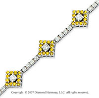 14k White Gold Round 3.35 Carat Yellow Diamond Bracelet