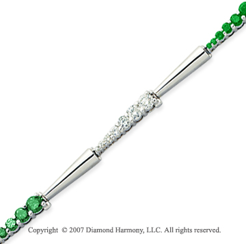 14k White Gold Elegant 4 1/3 Carat Green Diamond Bracelet