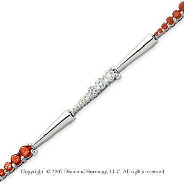 14k White Gold Elegant 4 1/3 Carat Red Diamond Bracelet