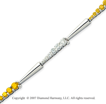 14k White Gold Elegant 4 1/3 Carat Yellow Diamond Bracelet