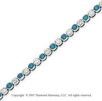14k White Gold Fine 7.10 Carat Blue Diamond Bracelet