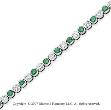 14k White Gold Fine 7.10 Carat Green Diamond Bracelet