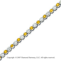14k White Gold Fine 7.10 Carat Yellow Diamond Bracelet