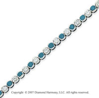 14k White Gold Fine 3 1/2 Carat Blue Diamond Bracelet