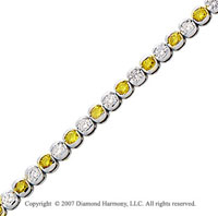 14k White Gold Fine 3 1/2 Carat Yellow Diamond Bracelet