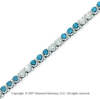 14k White Gold Prong 4 1/6 Carat Blue Diamond Bracelet