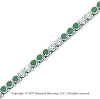 14k White Gold Prong 4 1/6 Carat Green Diamond Bracelet