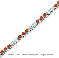 14k White Gold Prong 4 1/6 Carat Red Diamond Bracelet
