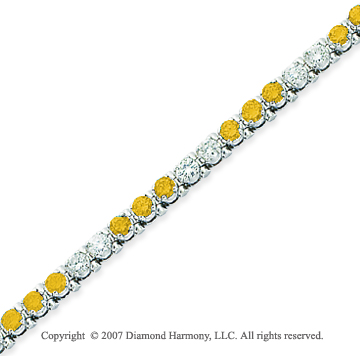 14k White Gold Prong 4 1/6  Carat Yellow Diamond Bracelet