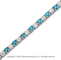14k White Gold Prong 8.80 Carat Blue Diamond Bracelet
