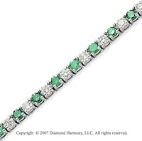 14k White Gold Prong 8.80 Carat Green Diamond Bracelet