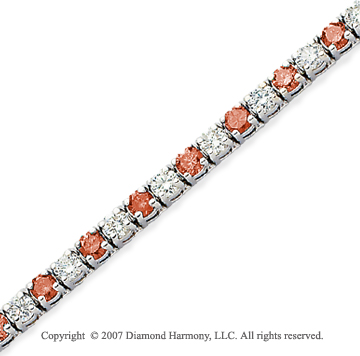 14k White Gold Prong 8.80 Carat Red Diamond Bracelet