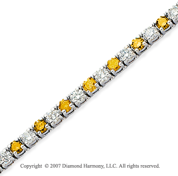 14k White Gold Prong 8.80 Carat Yellow Diamond Bracelet