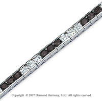 14k White Gold Round 10 1/2 Carat Black Diamond Bracelet