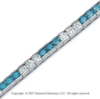 14k White Gold Round 10 1/2 Carat Blue Diamond Bracelet