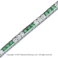 14k White Gold Round 10 1/2 Carat Green Diamond Bracelet