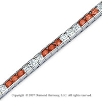 14k White Gold Round 10 1/2 Carat Red Diamond Bracelet