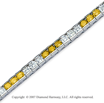 14k White Gold Round 10 1/2 Carat Yellow Diamond Bracelet