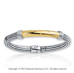 18k Yellow Gold Sterling Silver Fine Diamond Bracelet