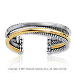 18k Yellow Gold Sterling Silver Stylish Cuff Bracelet