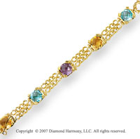 14k Yellow Gold Stylish Prong Asscher Tri Gem Bracelet