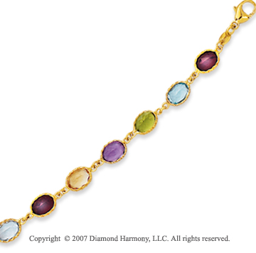 14k Yellow Gold Stylish Bezel Oval Multi Stone Bracelet