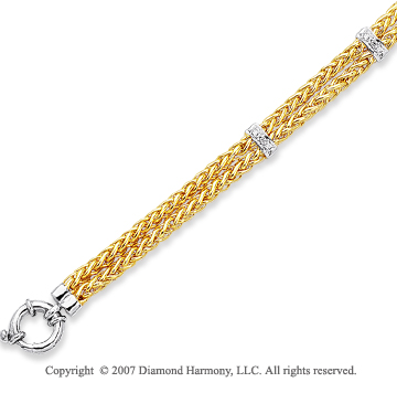 14k Two Tone Gold Pave Round 0.90 Carat Diamond Bracelet