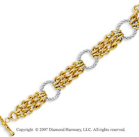 14k Two Tone Gold 7.50 Inch Elegant Ring Weave Bracelet