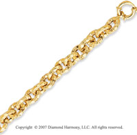 14k Yellow Gold 7.50 Inch Classic Style Carved Bracelet