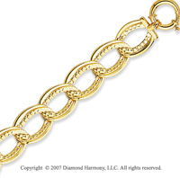14k Yellow Gold 7.50 Inch Elegant Oval Links Bracelet