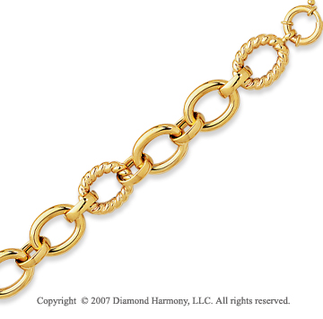 14k Yellow Gold 7.50 Inch Smooth Carved Fine Bracelet