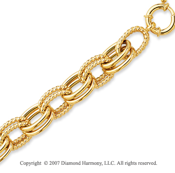14k Yellow Gold 8.00 Inch Fashion Oval Link Bracelet